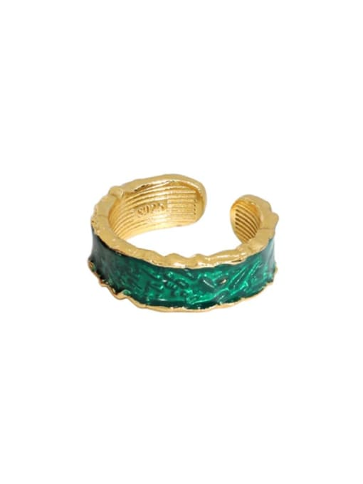 Gold [green] 925 Sterling Silver Enamel Irregular Vintage Band Ring